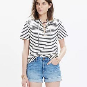 Madewell Striped Lace Up Short Sleeve Top Small